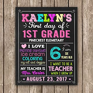 First Day of School Sign Any Grade Back to School Sign Chalkboard Photo Prop Digital Printable First Day of First Grade Sign