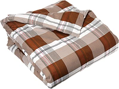 Uniware Solid Microfiber Duvet Cover, Wrinkle Free, (King, Brown Grid)