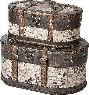 SLPR Alyssa Wooden Train Case (Set of 2, Roses) | Decorative Storage Trunk Vintage Themed Antique Victorian Style Treasure Storage Box