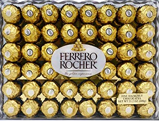 Ferrero Rocher Fine Hazelnut Chocolates, Chocolate Gift Box, 48 Count Flat, 21.2 oz