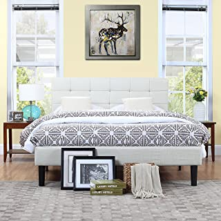 Divano Roma Furniture Classic Deluxe Ivory Linen Low Profile Platform Bed Frame with Tufted Headboard Design (Queen)