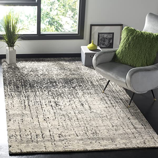 Safavieh Retro Collection RET2770 9079 Modern Abstract Black And Light Grey Area Rug 5 X 8