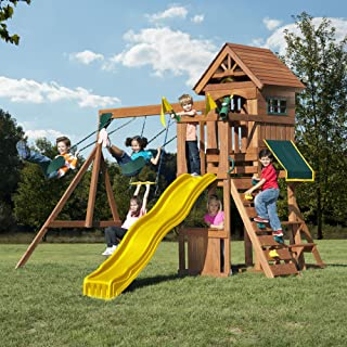 Swing-N-Slide WS 8328 Jamboree Fort Play Set with Two Swings, Slide, Picnic Table, Telescope & Climbing Wall, Green