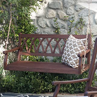 Classically Curved 4 ft. Porch Swing Crafted From Eucalyptus Wood In Dark Brown Weather Resistant Finish