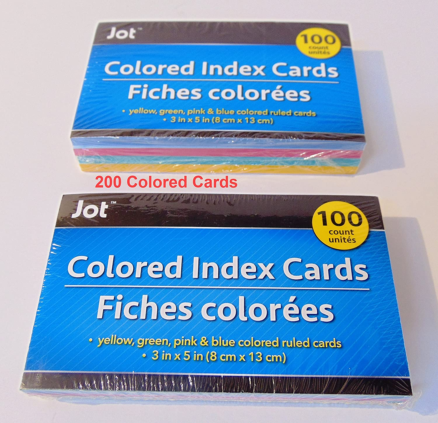 2 Colored Index Cards measuring 3 in 5 total San Francisco Mall inches 200 shopping x