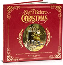 """FAO Schwarz """"The Night Before Christmas"""" Premiere Genuine Red Leather-Bound Book with Gilded Pages and Cover Details, Original and New Illustrations"""