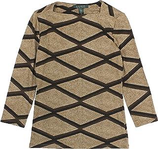 Ralph Lauren Lauren Women's Diamond Square-Neck Top X-Small Tan Multi