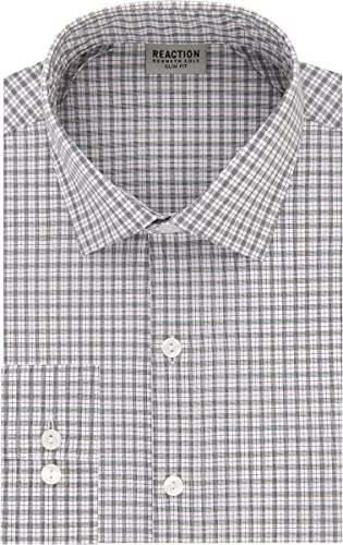 Kenneth Cole REACTION Hommes's Technicole Slim Fit Stretch Check Spread Collar Robe Shirt, Henna, 15.5  Neck 34 -35  Sleeve