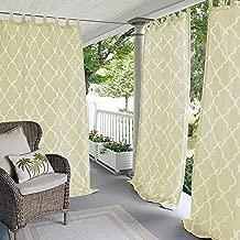 "Elrene Home Fashions 026865833157 Indoor/Outdoor Tab Top Single Panel Window Curtain Drape, 50"" x 84"", Ivory"