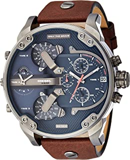 Diesel Men's Mr Daddy 2.0 Quartz Stainless Steel and Leather Chronograph Watch, Color: Grey, Brown (Model: DZ7314)