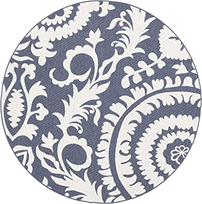 "Artistic Weavers Alysia Charcoal and White Indoor/Outdoor 7'3"" Round Area Rug"