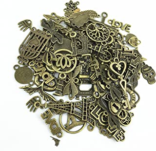 YYaaloa 100g (70-80pcs) Mixed Charms Pendants Assorted DIY Antique Bronze Charms Pendant for Crafting Bracelet Necklace Jewelry Findings Jewelry Making Accessory (100g Mixed Bronze)