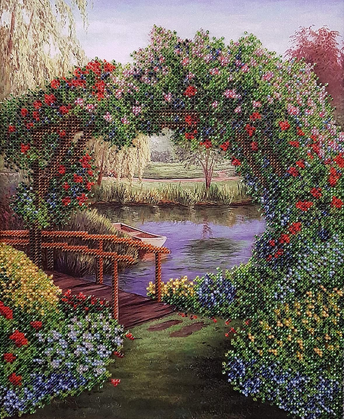 AllAboutEmbroideryUA Bead Embroidery kit Silent Landscape Beaded Cross Stitch Flowers Needlepoint Handcraft Tapestry kit