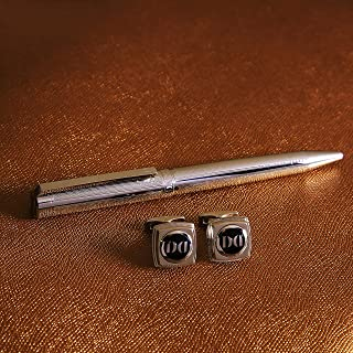 طقم قلم وازرار اكمام للرجال بلون فضي
