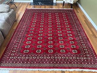 Stampa Rugs 10' 1'' x 8' 1'' (ft)-Red Hand Knotted | Red Bokhara Rug| Mori Gola Style | Pakistani Bokhara Rug | Wool Made Living Room Big Rug