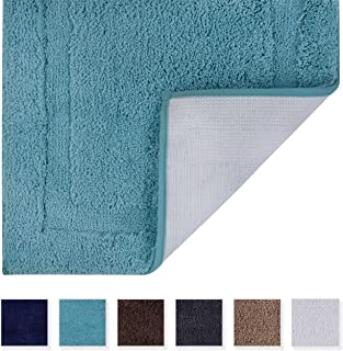 TOMORO Microfibers Non-Slip Bathroom Rug - Quick Dry, Super Absorbent and Soft Luxury Hotel Door Carpet Shower Shaggy Bath Mat Waterproof TPR Non-Skid Backing 20 x 32 inch Turquoise…