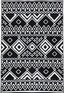 Lightweight Outdoor Reversible Durable Plastic Rug (8x10, Kilim Black/White)