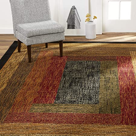 Amazon Com Home Dynamix Vega Modern Area Rug Geometric Black Brown Red 5 2 X7 2 Furniture Decor