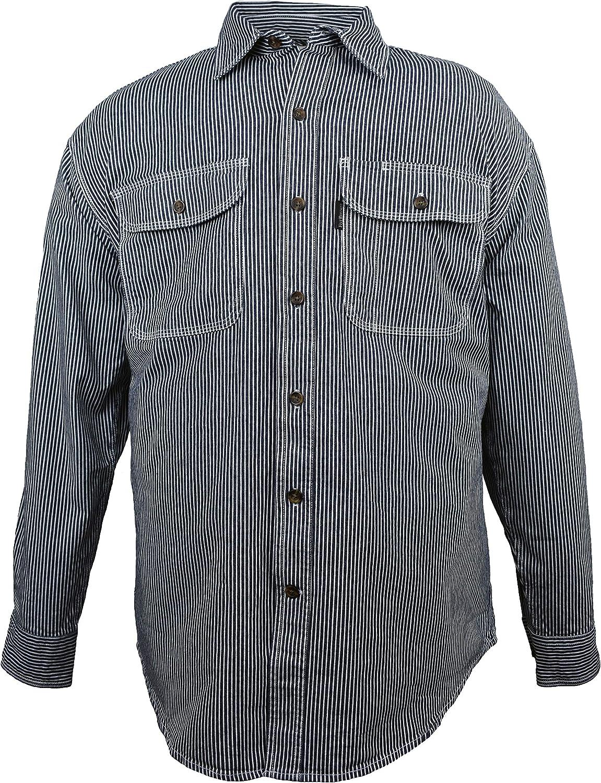 Five Brother Men's Flex-Denim Long Sleeve Hickory Stripe Logger Shirt | Button Front