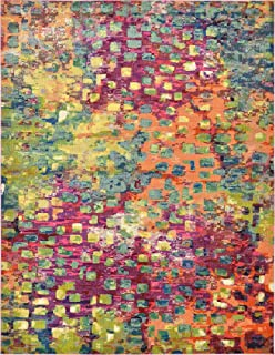 Unique Loom Jardin Collection Colorful Abstract Multi Area Rug (10' 0 x 13' 0)