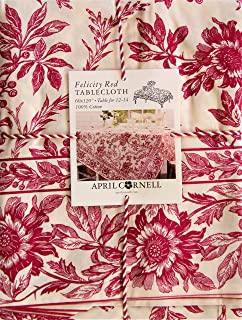 April Cornell Felicty Red Tablecloth 60 in x 120 in Oblong Rectangular 100% Cotton