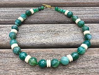 Collana con agata verde giada e dischi vaniglia, girocollo con pietre naturali, gioielli contemporanei, bijoux artigianali...