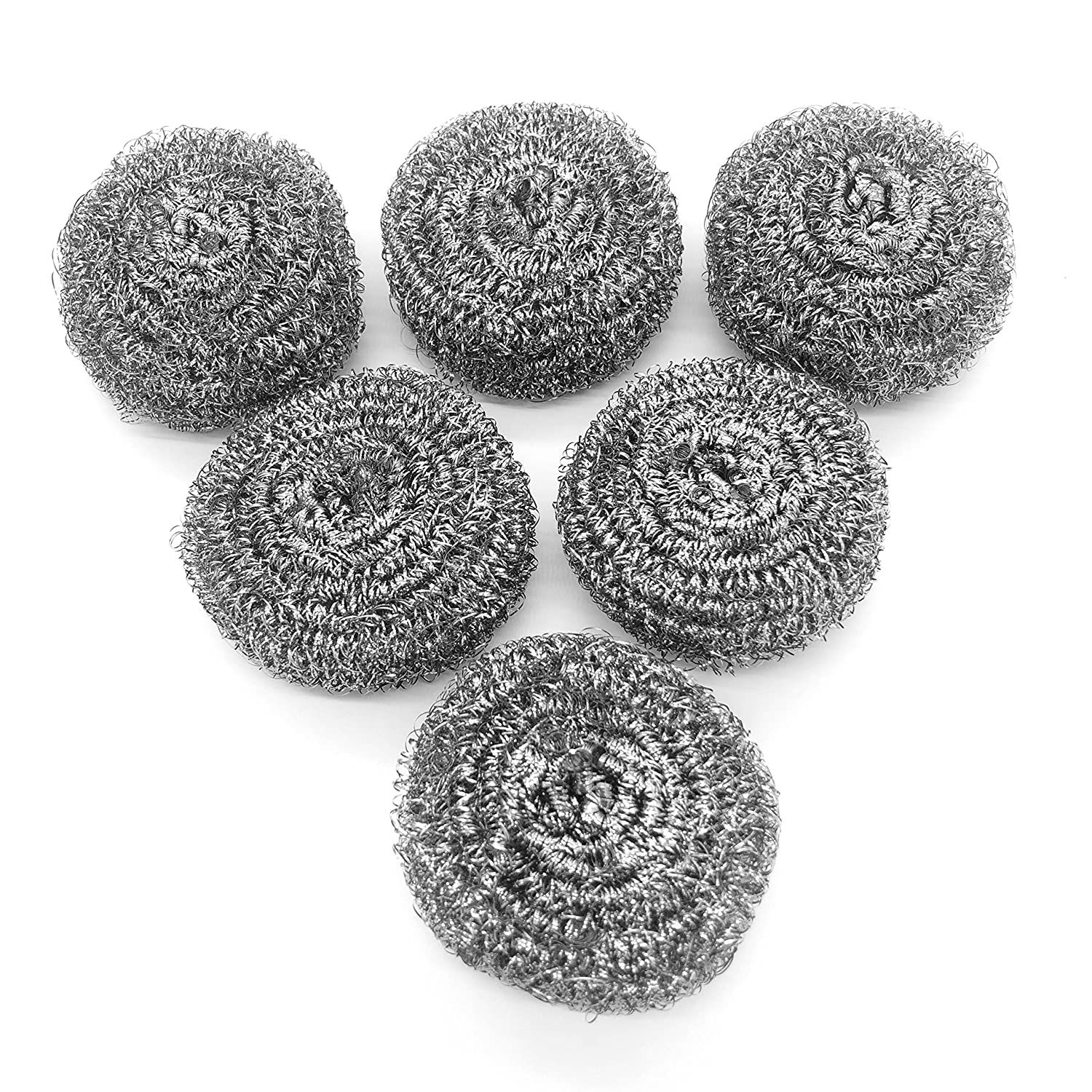 6 Pack Stainless Steel Sponges, Scrubbing Scouring Pad, Steel Wool Scrubber for Kitchens, Bathroom and More : Health & Household