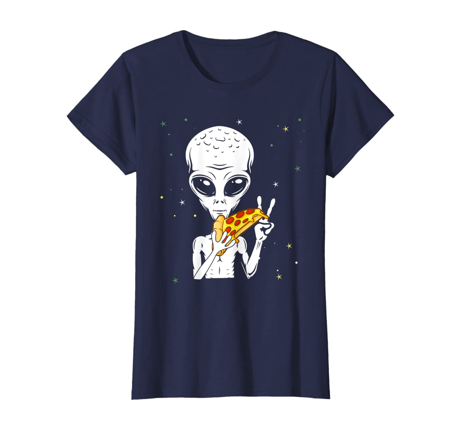 Funny Alien Pizza Eating Peace Shirt Space Martian Halloween