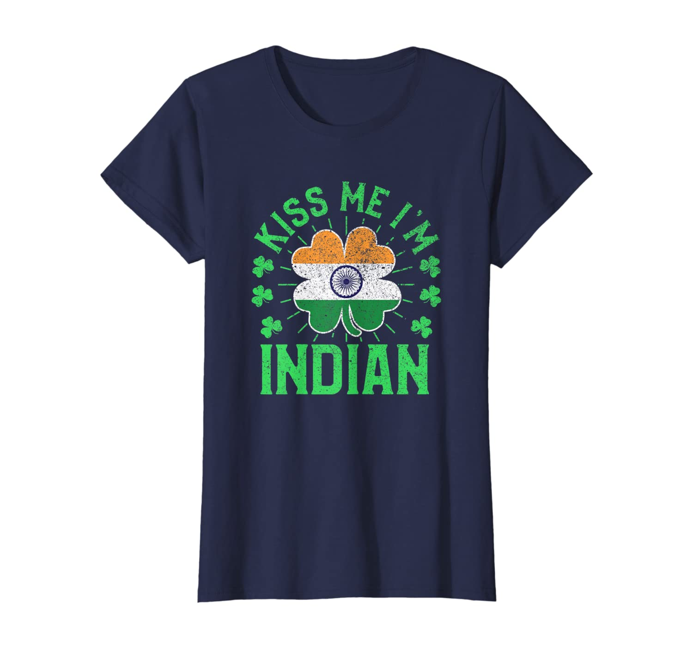 Kiss Me I'm Indian India Flag Shamrock St Patrick's Day T-Shirt-Yolotee
