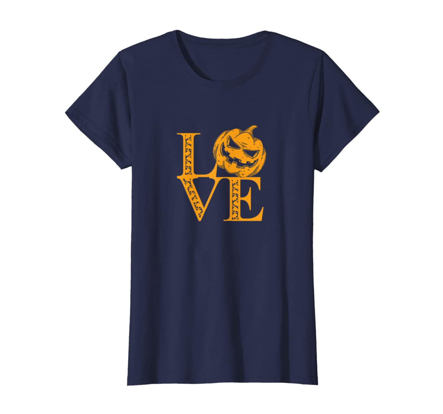 LOVE HALLOWEEN Jack O' Lantern and skull quote t-shirt