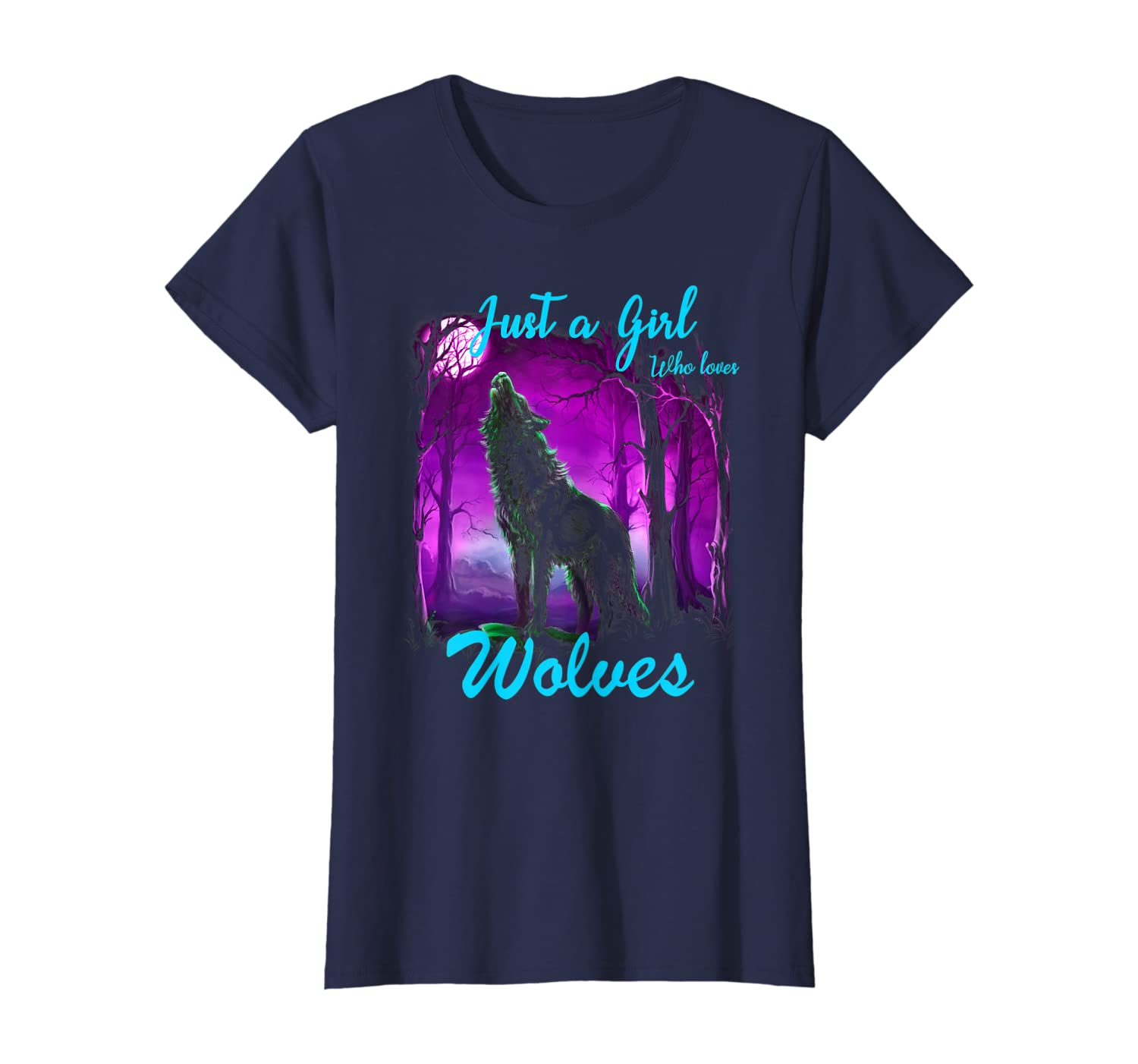 Wolf Shirt for Girls Women Just a Girl Who Loves wolves