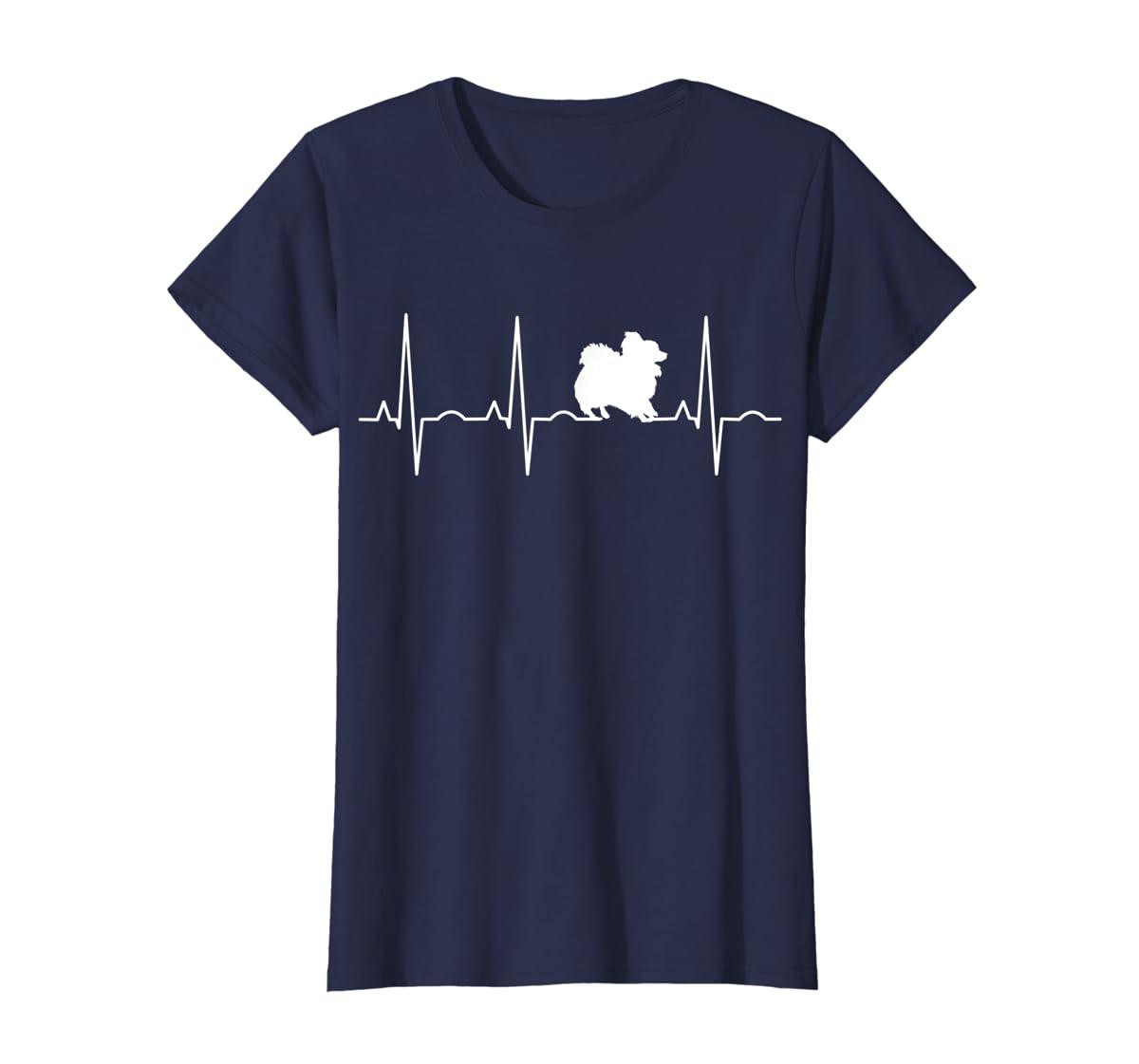 Pomeranian Heartbeat T-Shirt Pom Shirt Gifts Dog Lover-Women's T-Shirt-Navy
