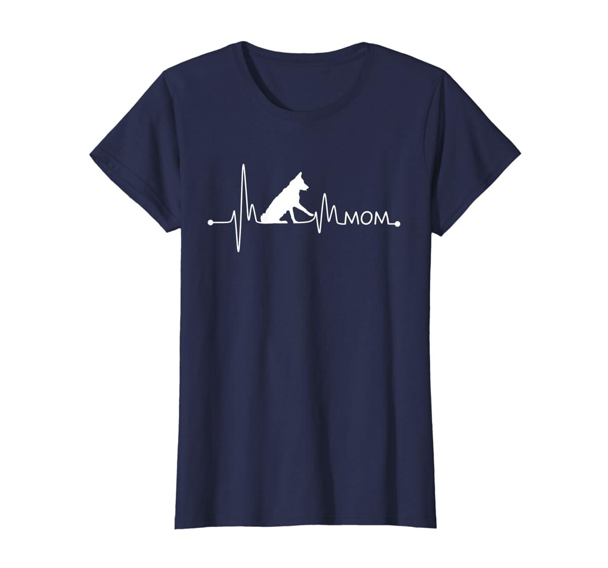Womens Border Collie Heartbeat Mom Shirt Ekg Pulse Collie Lover Tee-Women's T-Shirt-Navy