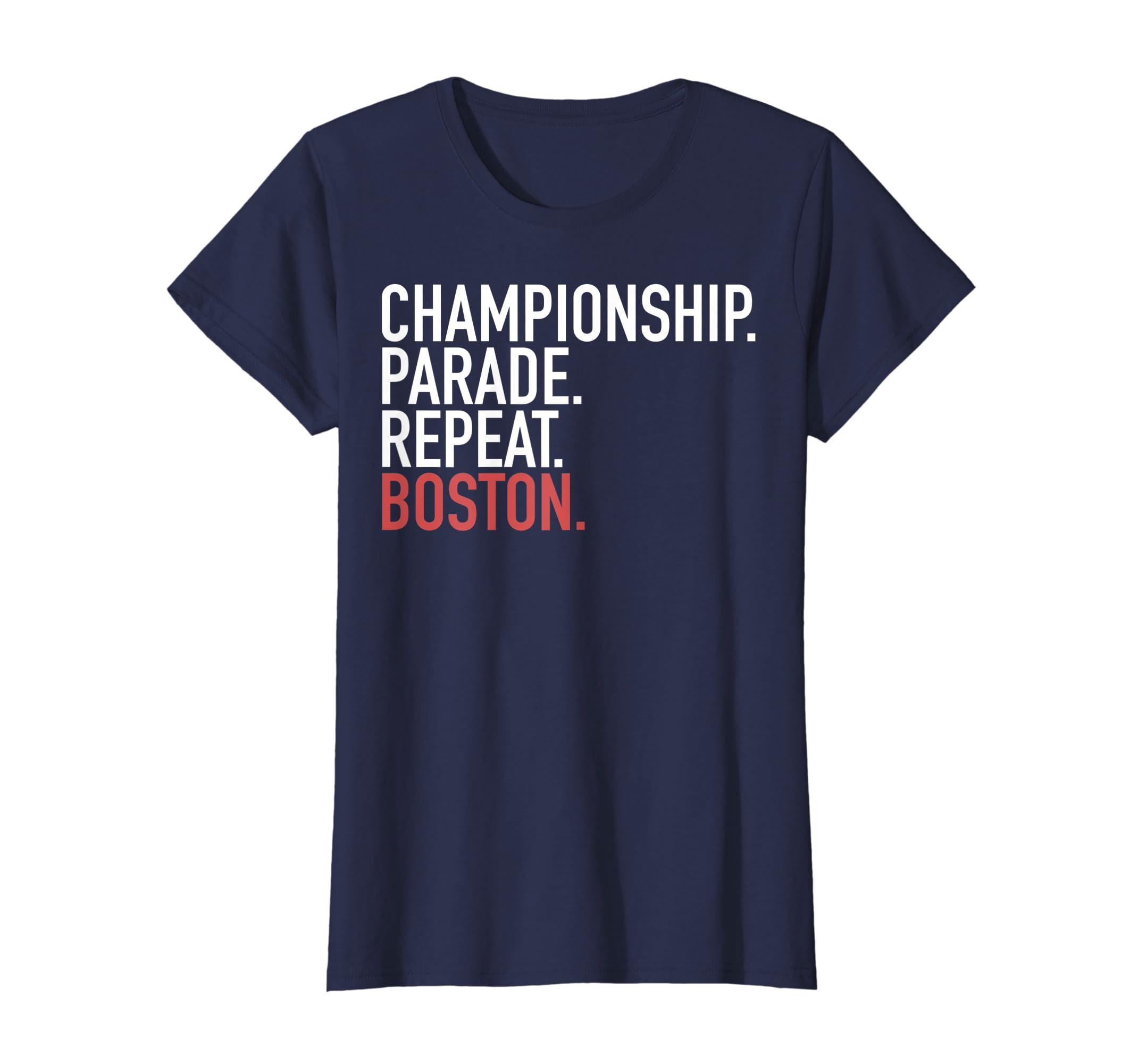3afdd0da344e Amazon.com: Championship Parade Repeat Boston T-Shirt: Clothing