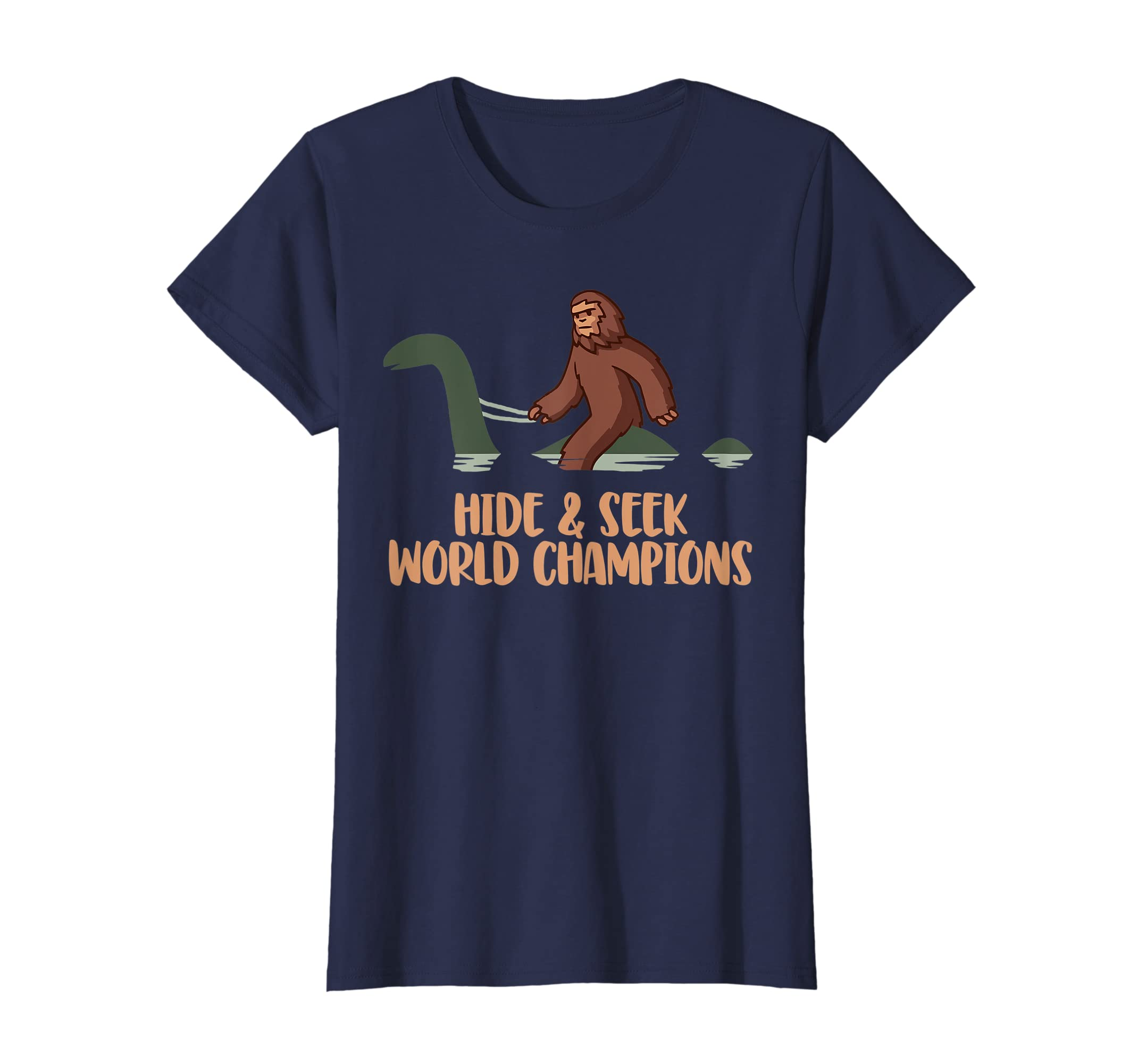 f94aec5a Amazon.com: Hide and Seek World Champions Bigfoot & Nessy Funny T-Shirt:  Clothing