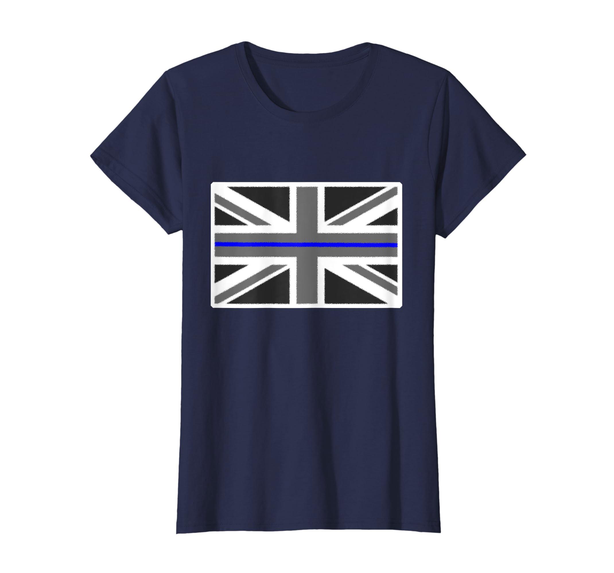 f94a030c Amazon.com: Thin Blue Line UK Flag English Police Union Jack T-Shirt:  Clothing