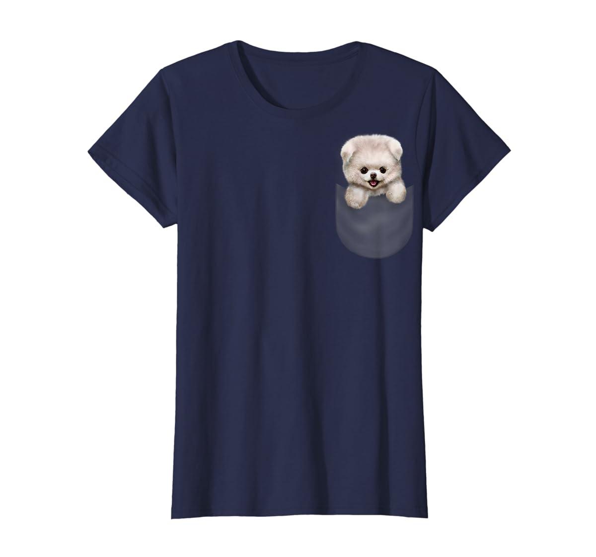 T-Shirt, Cute White Fluffy Pomeranian Puppy in Pocket, Dog-Women's T-Shirt-Navy