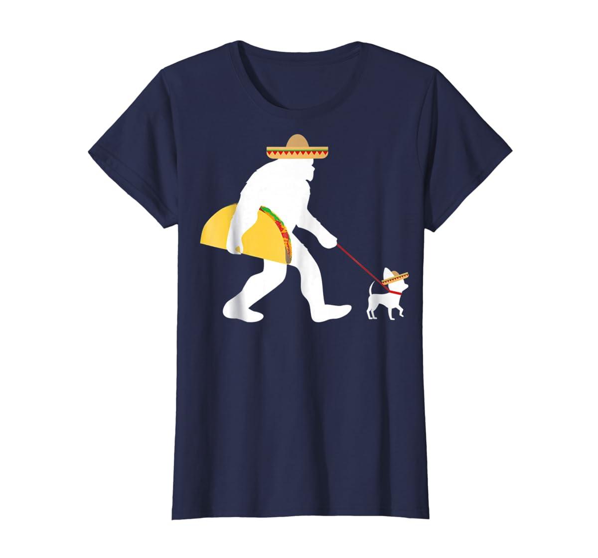 Bigfoot Taco Sombrero Chihuahua Dog Cinco de Mayo T-shirt-Women's T-Shirt-Navy