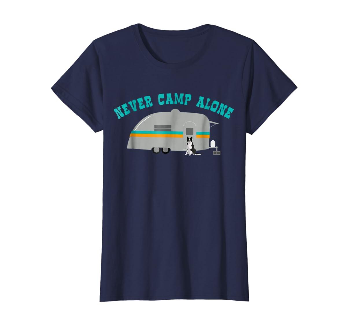 Border Collie Dog RV Shirt Funny Camping Travel Trailer-Women's T-Shirt-Navy