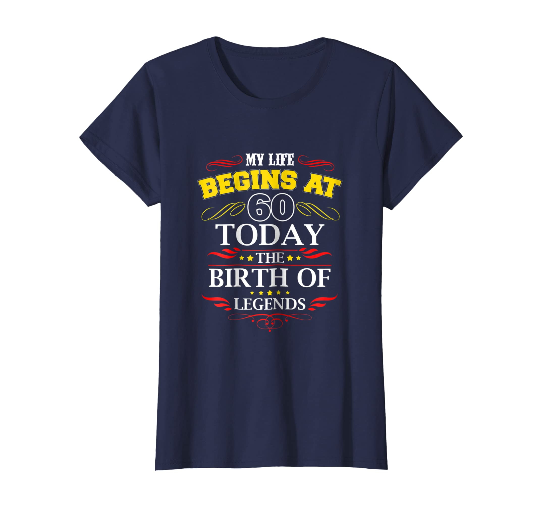 Amazon My Life Begins At 60 T Shirt Adult 60th Birthday Clothing