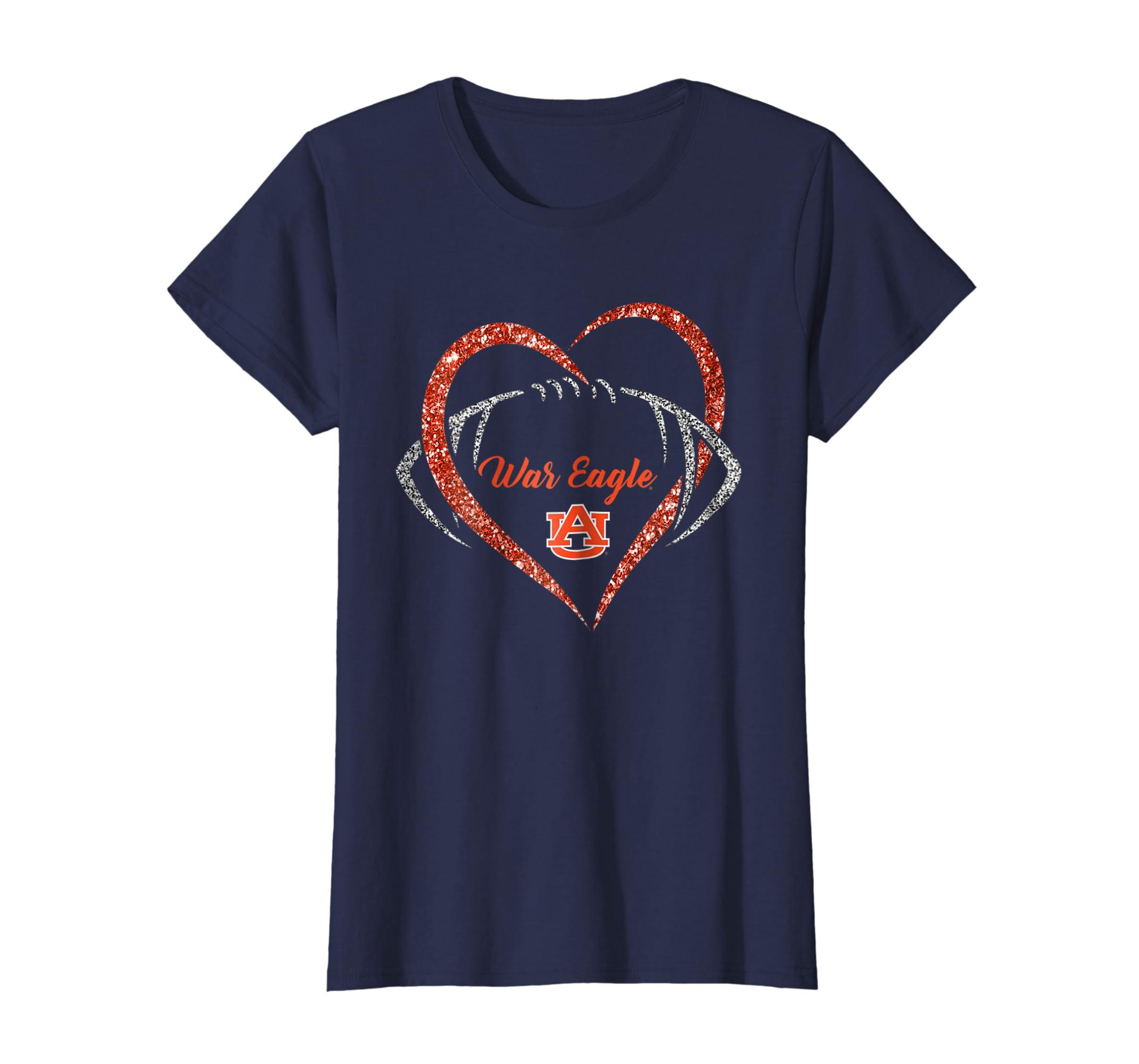 Amazon Com Auburn Tigers Heart Football T Shirt Apparel