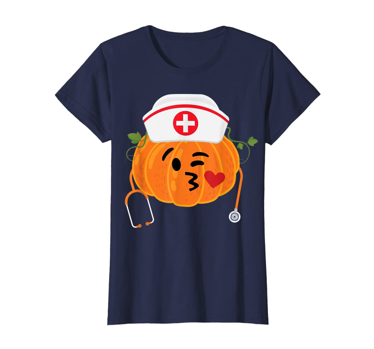 Nurse Stethoscope Pumpkin Funny Nursing Halloween Gift T-Shirt-Women's T-Shirt-Navy