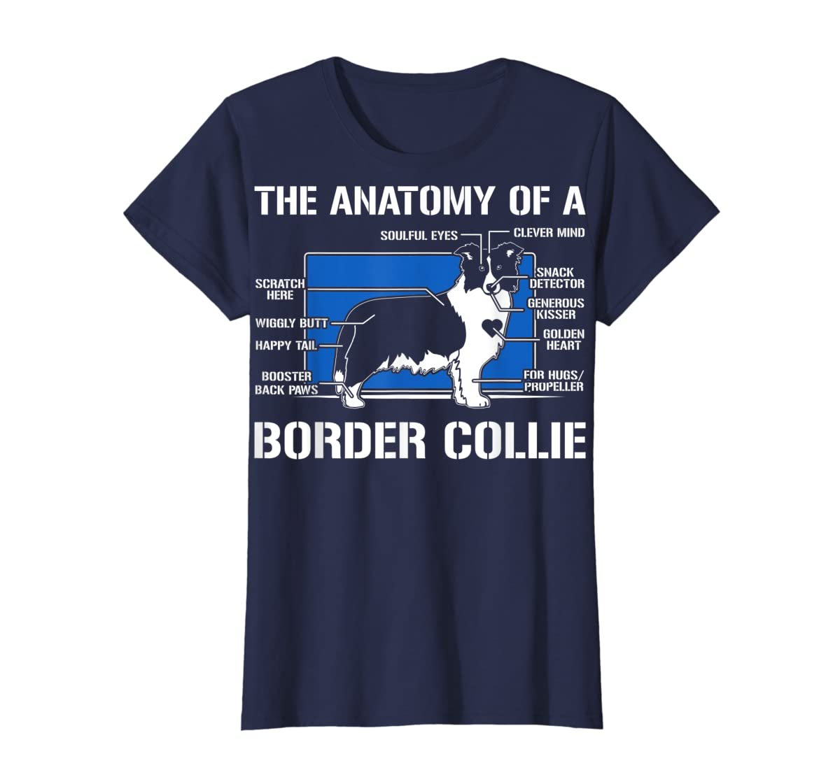 The Anatomy Of A Border Collie T shirt-Women's T-Shirt-Navy