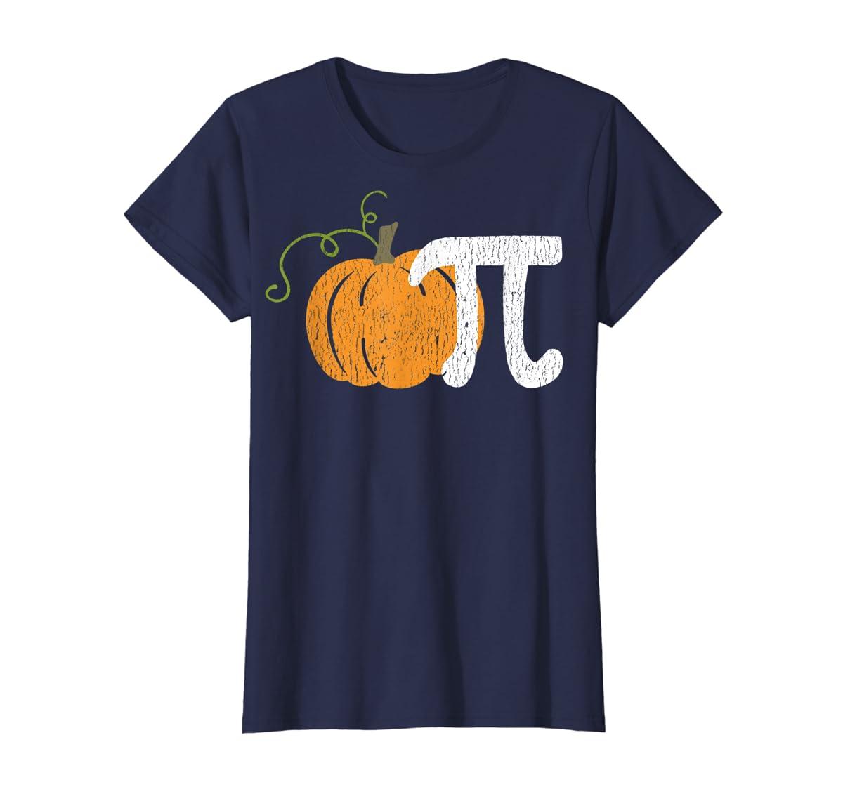 Funny Pumpkin Pie Math Teacher Halloween Pi Humor T-Shirt-Women's T-Shirt-Navy
