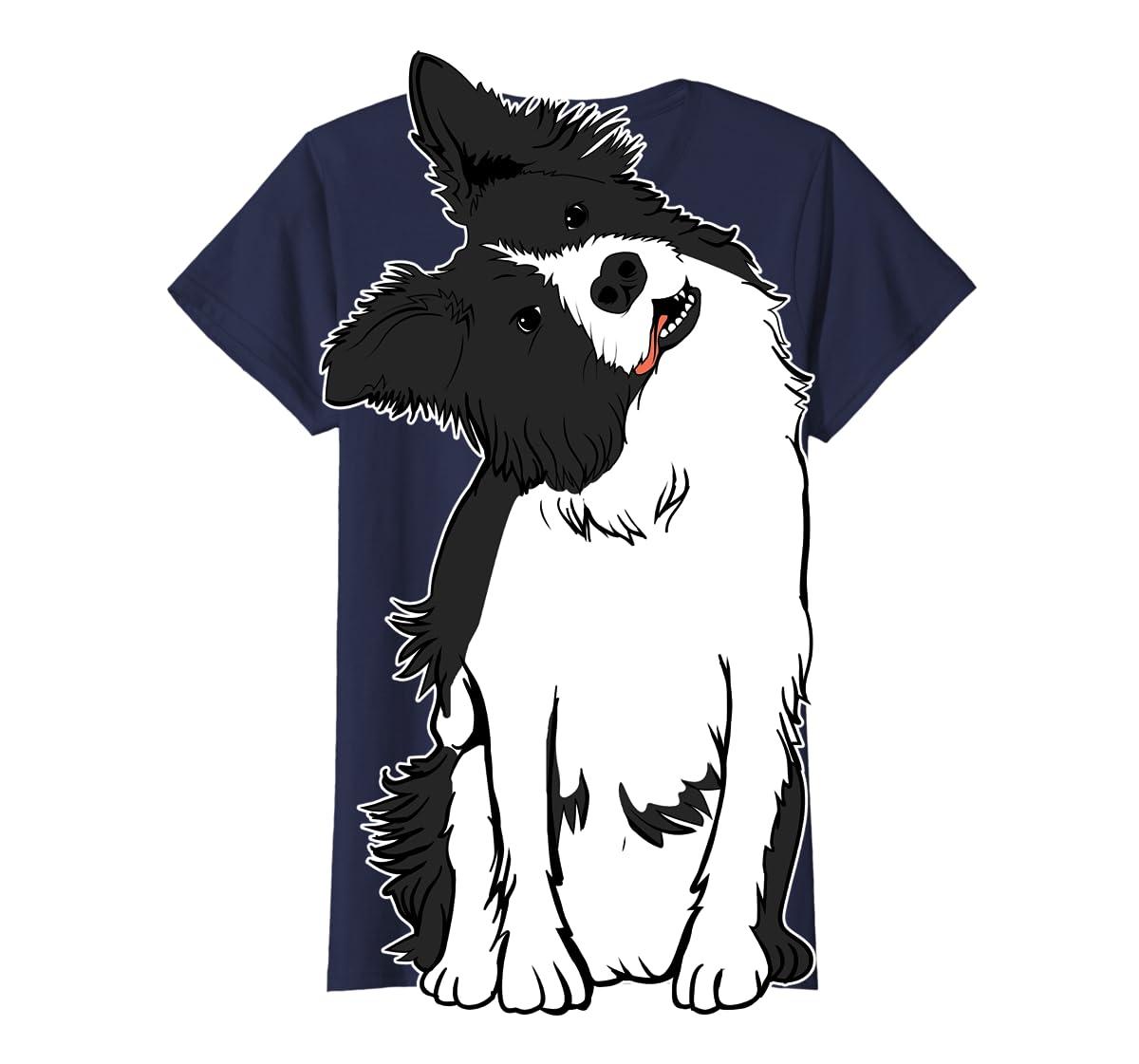 Walkies? Beautiful Border Collie Shirt - Sheepdog Gifts-Women's T-Shirt-Navy