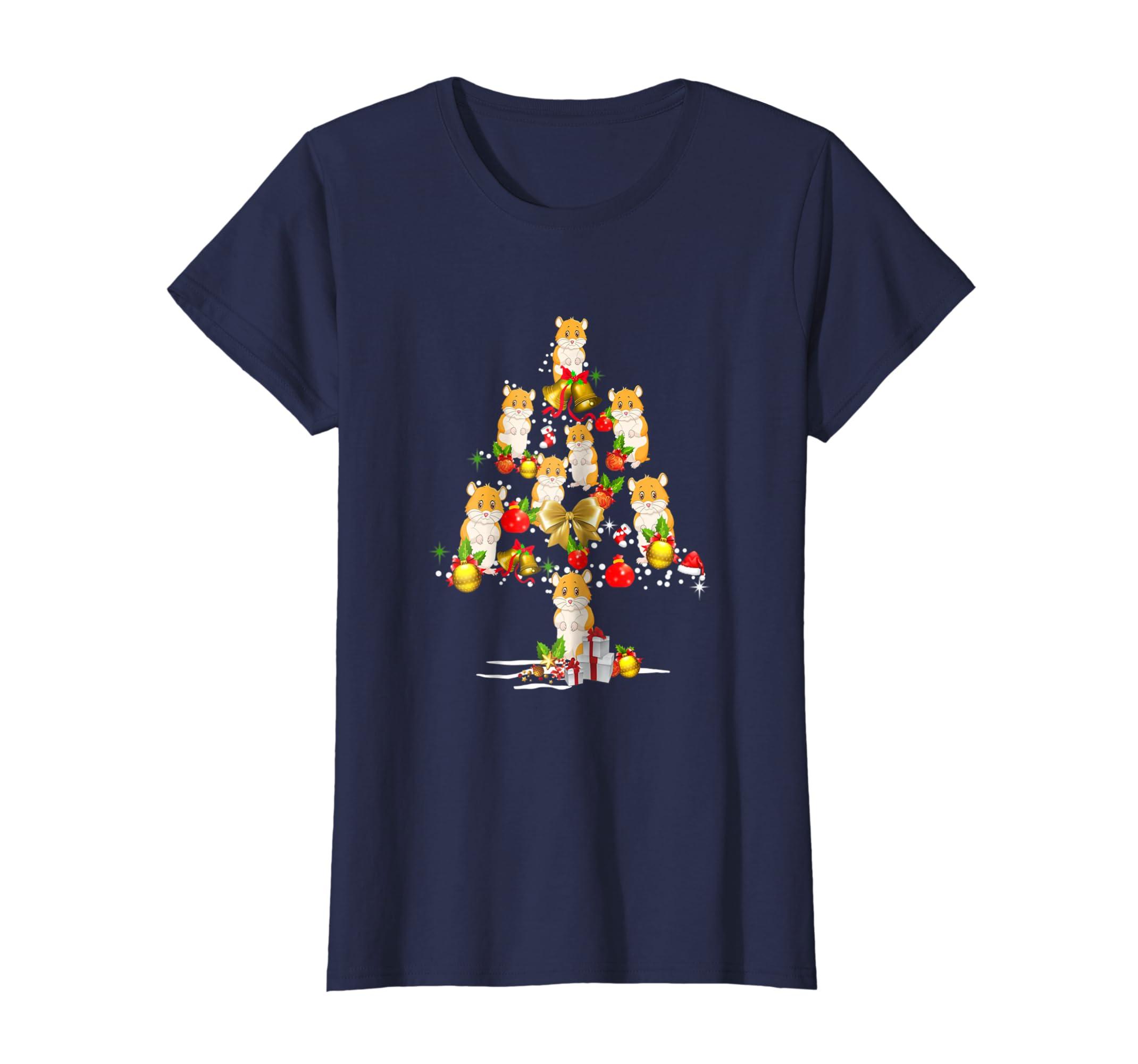357b87e7639 Amazon.com  Hamster Christmas Tree T-Shirts Funny Xmas Costume Cute Gift   Clothing