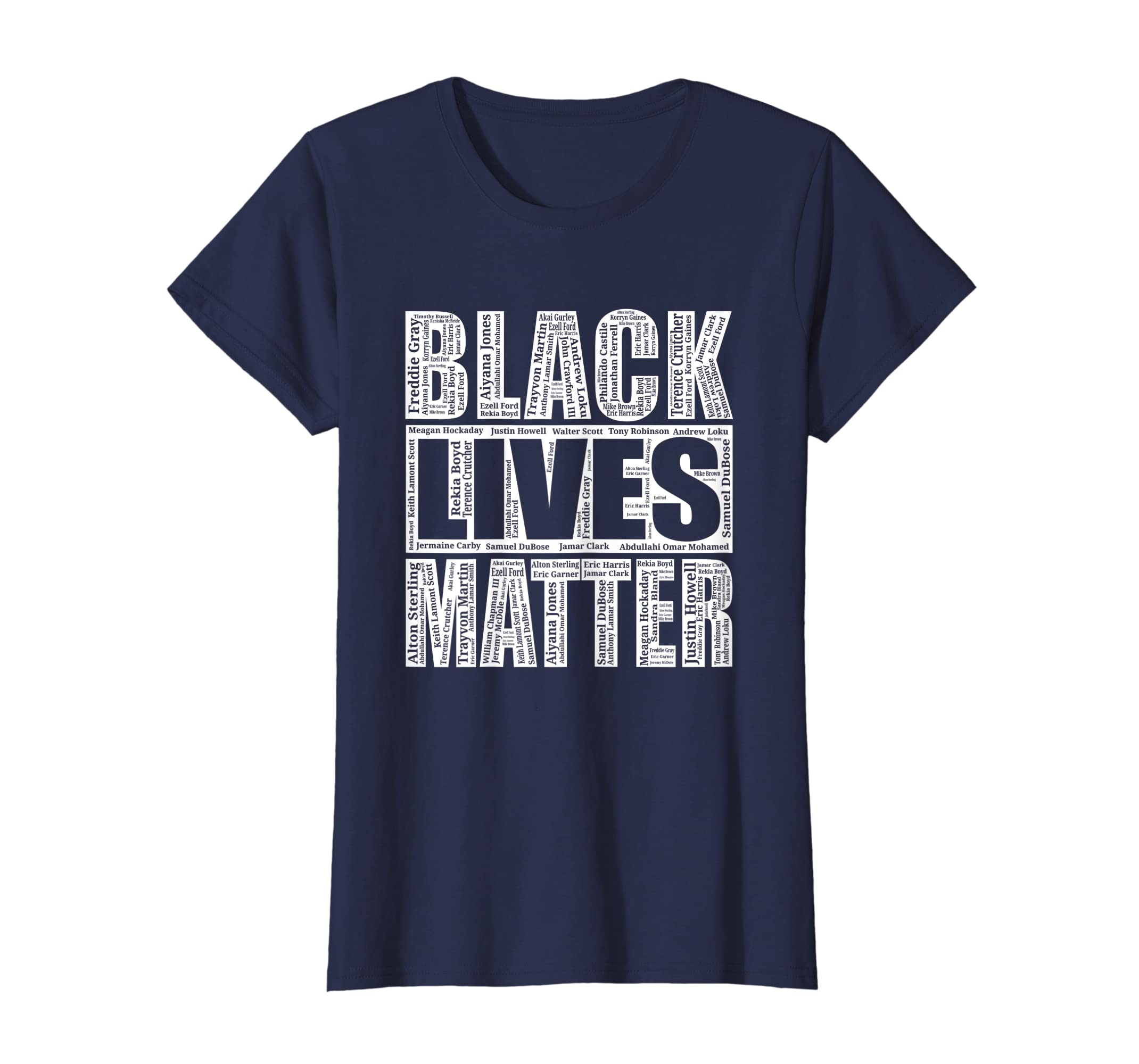 f36f5a53 Amazon.com: Black Lives Matter T-Shirt With Names Of Victims - BLM Shirt:  Clothing