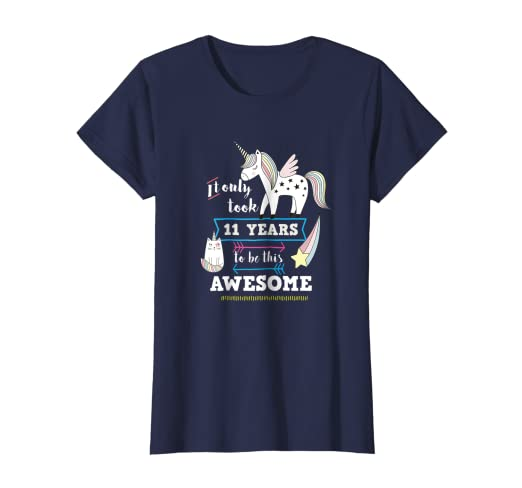 Image Unavailable Not Available For Color Cute Unicorn Birthday Shirt 11 Year Old Girl