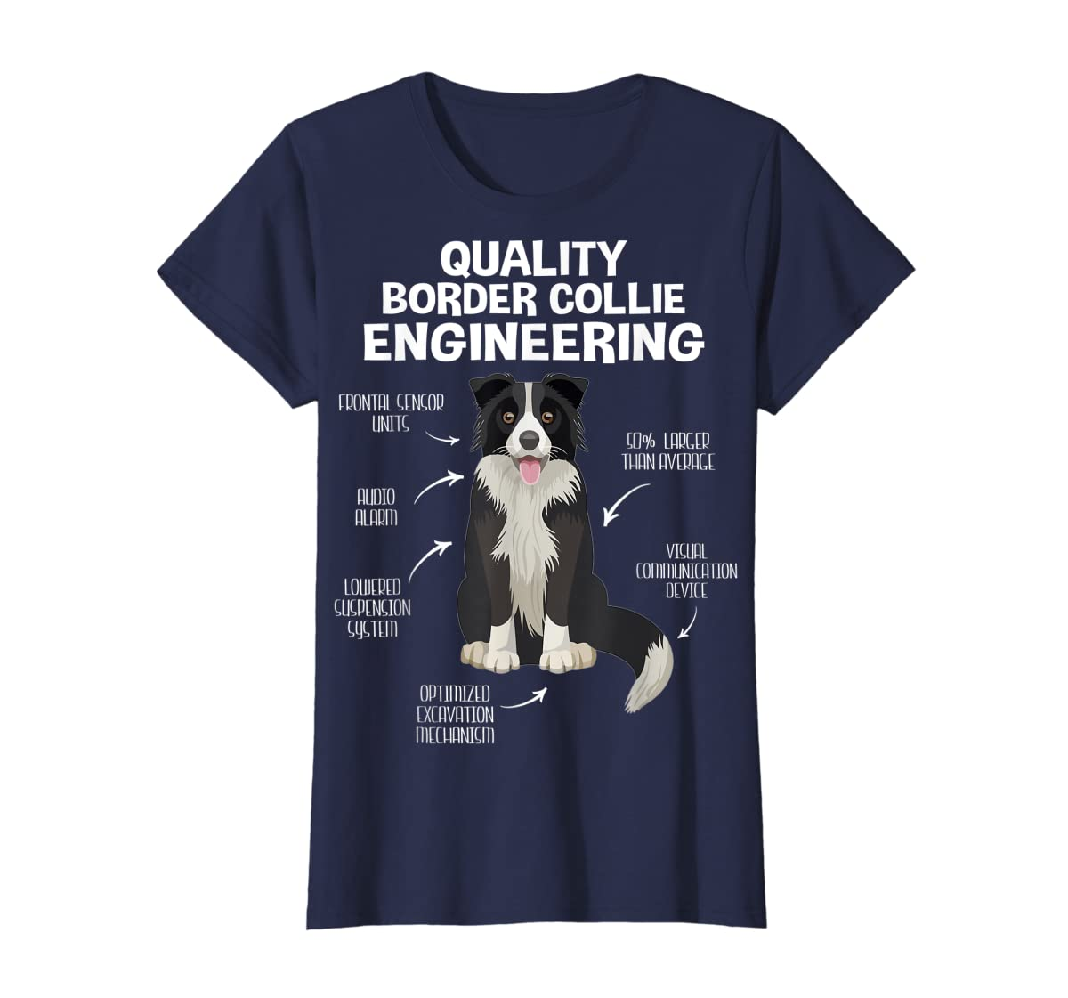 Quality Border Collie Engineering Dog Lover Gift T-Shirt-Women's T-Shirt-Navy