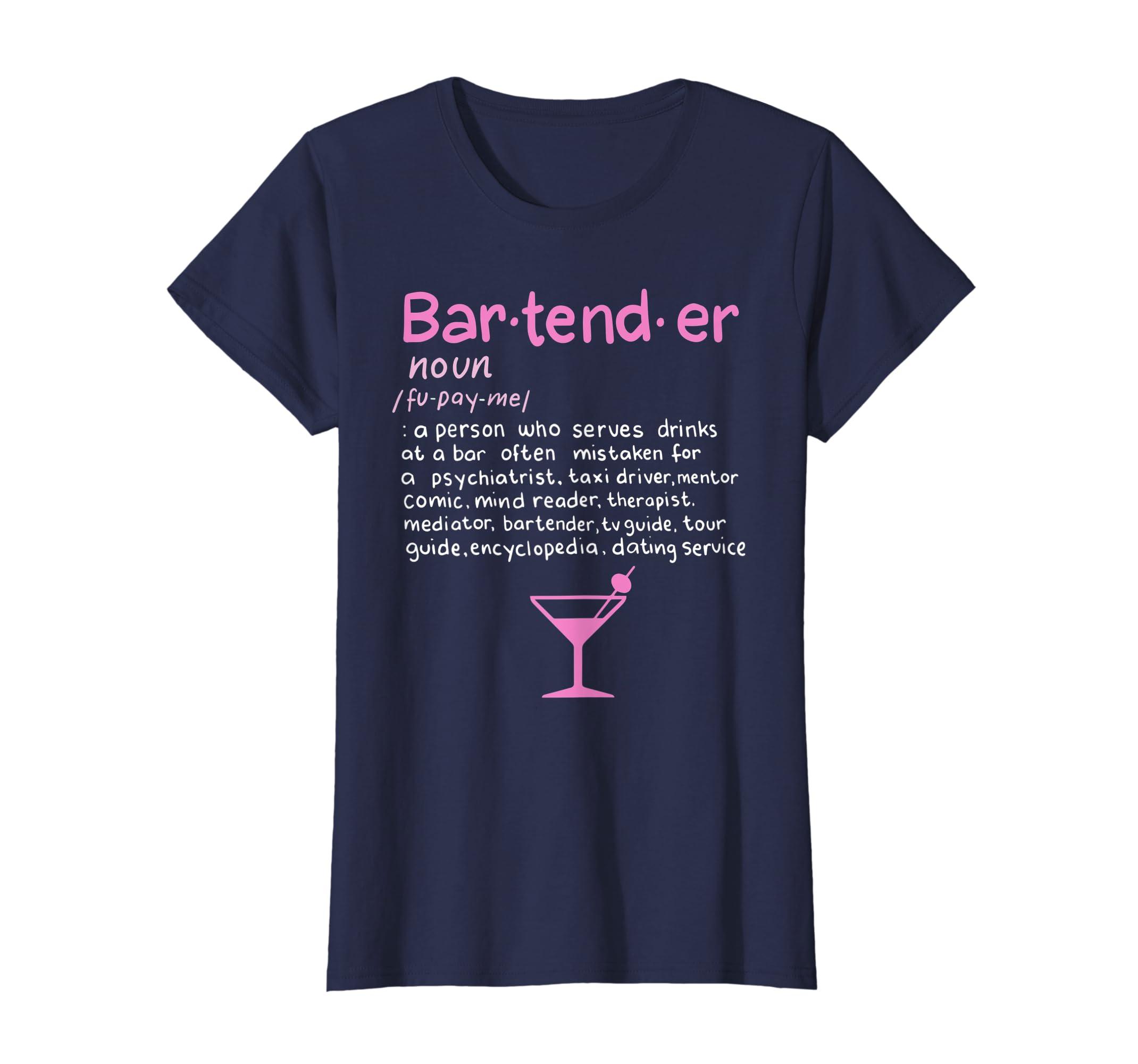 bea7d300 Amazon.com: Bartender Noun Definition T Shirt Funny Cocktail Bar Gift:  Clothing